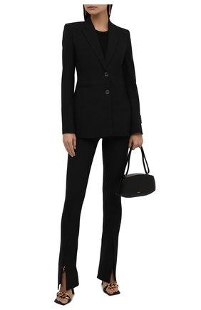 Женские брюки OFF-WHITE черного цвета, арт. 0WCA136F21FAB002 | Фото 2 (Материал внешний: Шерсть, Синтетический материал; Длина (брюки, джинсы): Удлиненные; Стили: Гламурный; Силуэт Ж (брюки и джинсы): Расклешенные)