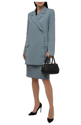 Женская юбка OFF-WHITE зеленого цвета, арт. 0WCC132F21FAB002 | Фото 2 (Материал внешний: Синтетический материал, Шерсть; Длина Ж (юбки, платья, шорты): До колена; Стили: Гламурный; Женское Кросс-КТ: Юбка-одежда)