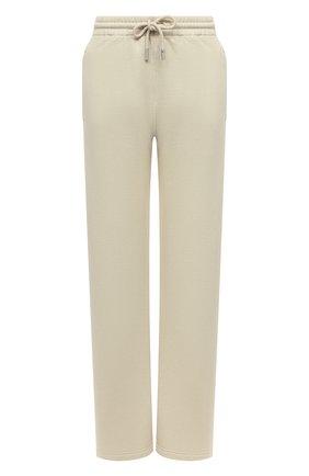 Женские хлопковые брюки OFF-WHITE кремвого цвета, арт. 0WCH008F21JER001 | Фото 1 (Длина (брюки, джинсы): Стандартные; Материал внешний: Хлопок; Стили: Спорт-шик; Кросс-КТ: Трикотаж; Женское Кросс-КТ: Брюки-одежда; Силуэт Ж (брюки и джинсы): Широкие)