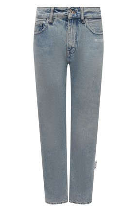 Женские джинсы OFF-WHITE голубого цвета, арт. 0WYA031F21DEN001 | Фото 1 (Материал внешний: Хлопок; Длина (брюки, джинсы): Стандартные; Стили: Кэжуэл; Кросс-КТ: Деним; Силуэт Ж (брюки и джинсы): Прямые)