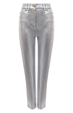 Женские джинсы BALMAIN серебряного цвета, арт. WF0MG005/D160 | Фото 1 (Материал внешний: Хлопок; Длина (брюки, джинсы): Стандартные; Стили: Гламурный; Кросс-КТ: Деним; Силуэт Ж (брюки и джинсы): Слим)