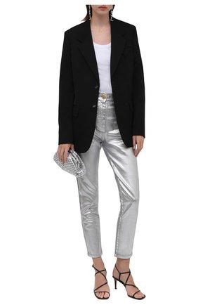 Женские джинсы BALMAIN серебряного цвета, арт. WF0MG005/D160 | Фото 2 (Материал внешний: Хлопок; Длина (брюки, джинсы): Стандартные; Стили: Гламурный; Кросс-КТ: Деним; Силуэт Ж (брюки и джинсы): Слим)