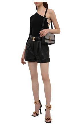 Женские кожаные шорты BALMAIN черного цвета, арт. WF1QA010/L158   Фото 2 (Длина Ж (юбки, платья, шорты): Мини; Материал подклада: Вискоза; Стили: Гламурный; Женское Кросс-КТ: Шорты-одежда)