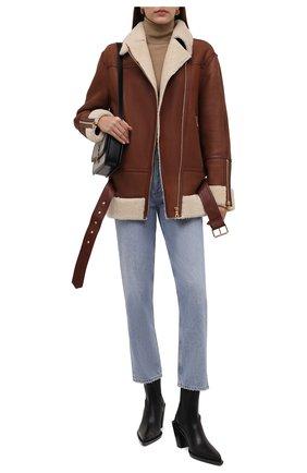 Женская дубленка BALMAIN коричневого цвета, арт. WF1TH015/L160   Фото 2 (Материал внешний: Натуральный мех; Длина (верхняя одежда): Короткие; Рукава: Длинные; Стили: Гламурный; Женское Кросс-КТ: Мех)