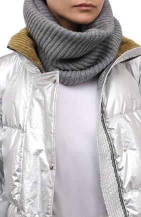 Женский кашемировый шарф-снуд LISA YANG серого цвета, арт. 402110   Фото 2 (Материал: Кашемир, Шерсть)