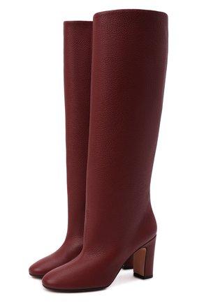 Женские кожаные сапоги KITON бордового цвета, арт. D50809X04T82 | Фото 1 (Материал внутренний: Натуральная кожа; Каблук тип: Устойчивый; Каблук высота: Средний, Высокий; Высота голенища: Высокие, Средние; Подошва: Плоская)
