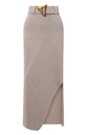 Женская хлопковая юбка AERON бежевого цвета, арт. SK135_376 | Фото 1 (Кросс-КТ: Трикотаж; Женское Кросс-КТ: Юбка-одежда; Материал внешний: Хлопок; Длина Ж (юбки, платья, шорты): Макси; Стили: Кэжуэл)