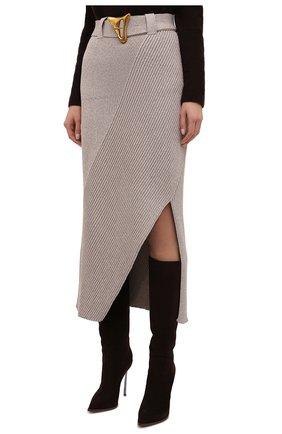 Женская хлопковая юбка AERON бежевого цвета, арт. SK135_376 | Фото 3 (Кросс-КТ: Трикотаж; Женское Кросс-КТ: Юбка-одежда; Материал внешний: Хлопок; Длина Ж (юбки, платья, шорты): Макси; Стили: Кэжуэл)