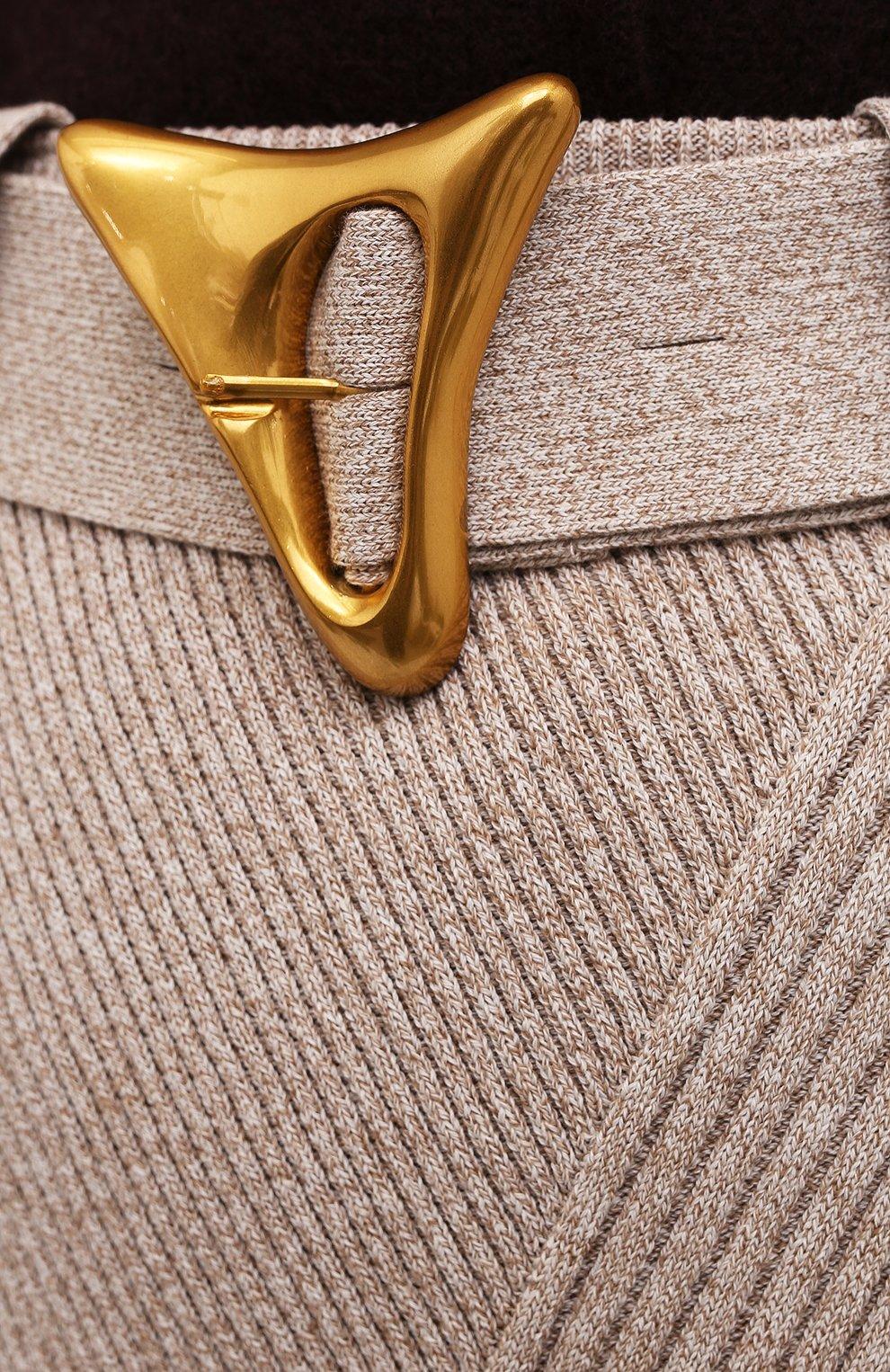 Женская хлопковая юбка AERON бежевого цвета, арт. SK135_376 | Фото 5 (Кросс-КТ: Трикотаж; Женское Кросс-КТ: Юбка-одежда; Материал внешний: Хлопок; Длина Ж (юбки, платья, шорты): Макси; Стили: Кэжуэл)