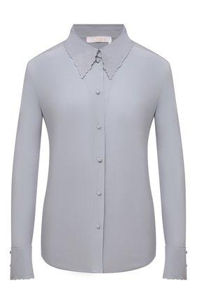 Женская шелковая блузка CHLOÉ голубого цвета, арт. CHC21WHT06004   Фото 1 (Длина (для топов): Стандартные; Рукава: Длинные; Материал внешний: Шелк; Стили: Кэжуэл; Принт: Без принта; Женское Кросс-КТ: Блуза-одежда)