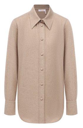 Женская рубашка из шерсти и кашемира CHLOÉ бежевого цвета, арт. CHC21WHT16064   Фото 1 (Рукава: Длинные; Длина (для топов): Стандартные; Материал внешний: Шерсть; Стили: Кэжуэл; Принт: Без принта; Женское Кросс-КТ: Рубашка-одежда)