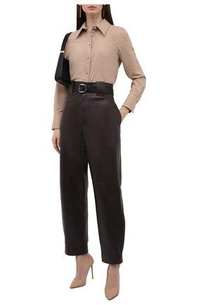 Женская рубашка из шерсти и кашемира CHLOÉ бежевого цвета, арт. CHC21WHT16064   Фото 2 (Рукава: Длинные; Длина (для топов): Стандартные; Материал внешний: Шерсть; Стили: Кэжуэл; Принт: Без принта; Женское Кросс-КТ: Рубашка-одежда)