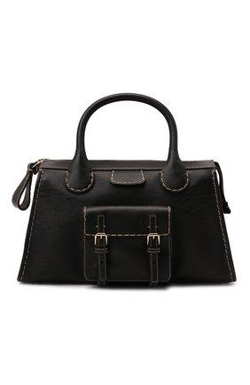 Женская сумка edith medium CHLOÉ черного цвета, арт. CHC21WS450F43   Фото 1 (Материал: Натуральная кожа; Размер: medium; Сумки-технические: Сумки top-handle; Ремень/цепочка: На ремешке)