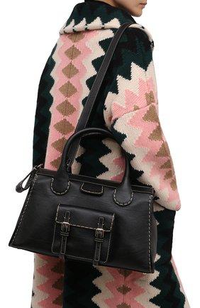 Женская сумка edith medium CHLOÉ черного цвета, арт. CHC21WS450F43   Фото 2 (Материал: Натуральная кожа; Размер: medium; Сумки-технические: Сумки top-handle; Ремень/цепочка: На ремешке)