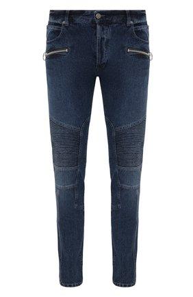 Мужские джинсы BALMAIN синего цвета, арт. WH0MG045/163D   Фото 1 (Материал внешний: Хлопок; Длина (брюки, джинсы): Стандартные; Кросс-КТ: Деним; Детали: Потертости; Стили: Гранж; Силуэт М (брюки): Узкие)