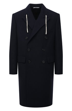 Мужской пальто PALM ANGELS темно-синего цвета, арт. PMEA166F21FAB0034610 | Фото 1 (Длина (верхняя одежда): До колена; Материал внешний: Шерсть; Материал подклада: Вискоза; Рукава: Длинные; Мужское Кросс-КТ: пальто-верхняя одежда; Случай: Повседневный; Стили: Спорт-шик; Shop in Shop M: Верхняя одежда)