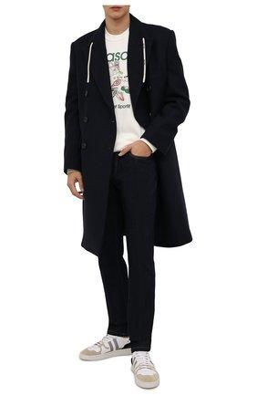 Мужской пальто PALM ANGELS темно-синего цвета, арт. PMEA166F21FAB0034610 | Фото 2 (Длина (верхняя одежда): До колена; Материал внешний: Шерсть; Материал подклада: Вискоза; Рукава: Длинные; Мужское Кросс-КТ: пальто-верхняя одежда; Случай: Повседневный; Стили: Спорт-шик; Shop in Shop M: Верхняя одежда)