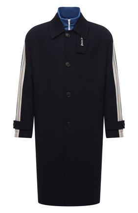 Мужской пальто PALM ANGELS темно-синего цвета, арт. PMEA180F21FAB0011045 | Фото 1 (Материал внешний: Шерсть; Материал подклада: Вискоза; Длина (верхняя одежда): До колена; Рукава: Длинные; Мужское Кросс-КТ: пальто-верхняя одежда; Случай: Повседневный; Стили: Спорт-шик)