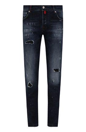 Мужские джинсы KITON темно-синего цвета, арт. UPNJS/J0356A   Фото 1 (Материал внешний: Хлопок; Длина (брюки, джинсы): Стандартные; Кросс-КТ: Деним; Детали: Потертости; Стили: Кэжуэл; Силуэт М (брюки): Прямые)