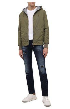 Мужские джинсы KITON темно-синего цвета, арт. UPNJS/J0356A   Фото 2 (Материал внешний: Хлопок; Длина (брюки, джинсы): Стандартные; Кросс-КТ: Деним; Детали: Потертости; Стили: Кэжуэл; Силуэт М (брюки): Прямые)
