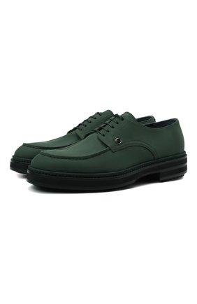 Мужские кожаные дерби ZILLI зеленого цвета, арт. MDW-A101/002   Фото 1 (Материал внутренний: Текстиль; Стили: Классический)