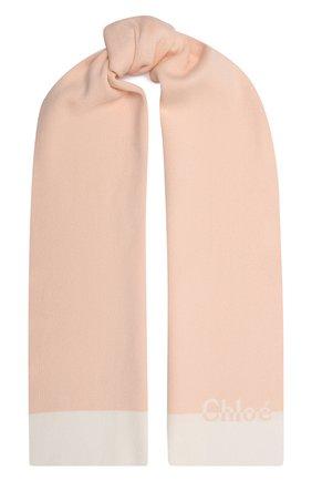 Детский хлопковый шарф CHLOÉ светло-розового цвета, арт. C11194   Фото 1 (Материал: Хлопок, Текстиль)