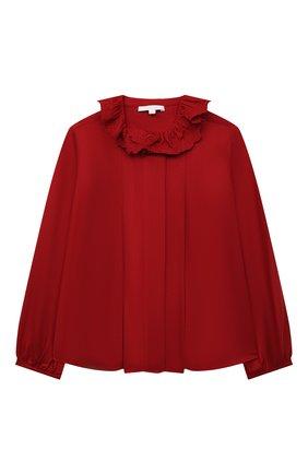 Детское блузка из вискозы CHLOÉ красного цвета, арт. C15D02   Фото 1 (Материал внешний: Вискоза; Рукава: Длинные)