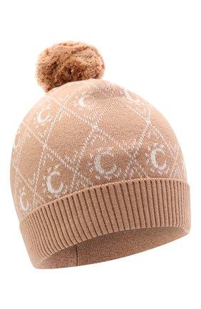 Детского хлопковая шапка CHLOÉ бежевого цвета, арт. C11193 | Фото 1 (Материал: Хлопок, Текстиль)