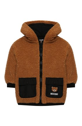 Детская куртка с капюшоном MOSCHINO коричневого цвета, арт. HUA002/LIA00/10A-14A   Фото 1 (Рукава: Длинные; Материал подклада: Хлопок; Материал внешний: Синтетический материал; Кросс-КТ: Сезон: демисезон)