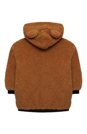 Детская куртка с капюшоном MOSCHINO коричневого цвета, арт. HUA002/LIA00/10A-14A   Фото 2 (Рукава: Длинные; Материал подклада: Хлопок; Материал внешний: Синтетический материал; Кросс-КТ: Сезон: демисезон)