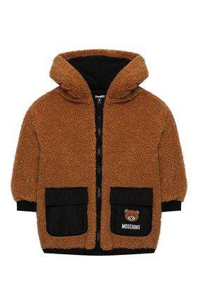 Детская куртка с капюшоном MOSCHINO коричневого цвета, арт. HUA002/LIA00/4A-8A | Фото 1 (Материал подклада: Хлопок; Материал внешний: Синтетический материал; Рукава: Длинные; Кросс-КТ: Сезон: демисезон)