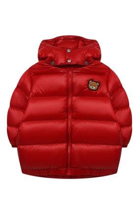 Детская пуховая куртка MOSCHINO красного цвета, арт. HUS02T/L3A32/10A-14A   Фото 1 (Материал подклада: Синтетический материал; Материал внешний: Синтетический материал; Рукава: Длинные; Материал утеплителя: Пух и перо; Кросс-КТ: Сезон: зима)