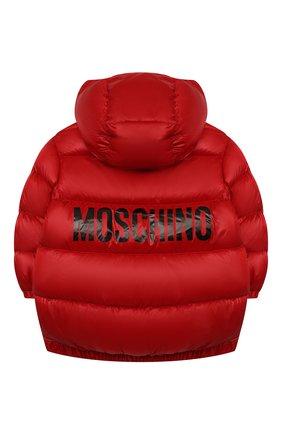 Детская пуховая куртка MOSCHINO красного цвета, арт. HUS02T/L3A32/10A-14A   Фото 2 (Материал подклада: Синтетический материал; Материал внешний: Синтетический материал; Рукава: Длинные; Материал утеплителя: Пух и перо; Кросс-КТ: Сезон: зима)