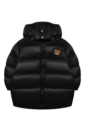 Детская пуховая куртка MOSCHINO черного цвета, арт. HUS02T/L3A32/10A-14A   Фото 1 (Материал утеплителя: Пух и перо; Материал внешний: Синтетический материал; Материал подклада: Синтетический материал; Рукава: Длинные; Кросс-КТ: Сезон: зима)