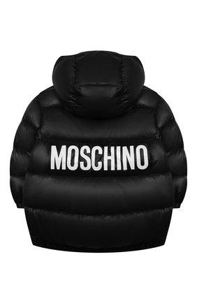 Детская пуховая куртка MOSCHINO черного цвета, арт. HUS02T/L3A32/4A-8A   Фото 2 (Материал подклада: Синтетический материал; Материал утеплителя: Пух и перо; Рукава: Длинные; Материал внешний: Синтетический материал; Кросс-КТ: Сезон: зима)