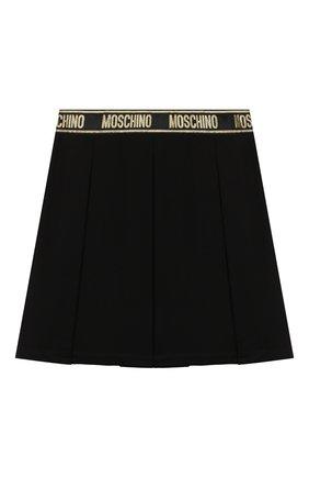 Детская юбка из вискозы MOSCHINO черного цвета, арт. HDJ021/LJA00/10A-14A   Фото 1 (Материал внешний: Вискоза)