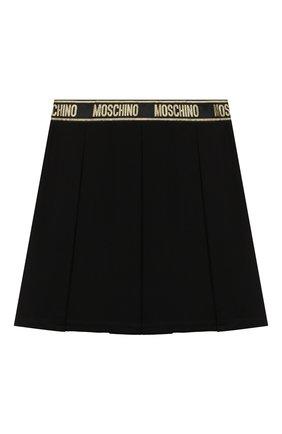 Детская юбка из вискозы MOSCHINO черного цвета, арт. HDJ021/LJA00/10A-14A   Фото 2 (Материал внешний: Вискоза)