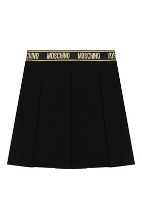 Детская юбка из вискозы MOSCHINO черного цвета, арт. HDJ021/LJA00/4A-8A   Фото 2 (Материал внешний: Вискоза)