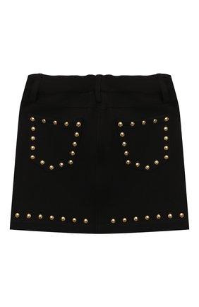 Детская юбка из вискозы MOSCHINO черного цвета, арт. HDJ023/LJA02/4A-8A   Фото 2 (Материал внешний: Вискоза)