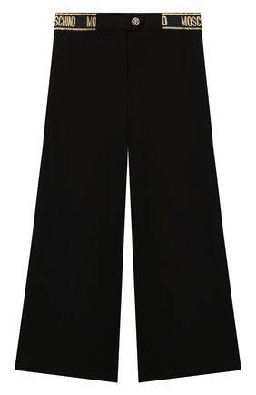 Детские брюки из вискозы MOSCHINO черного цвета, арт. HDP045/LJA00/10A-14A   Фото 1 (Материал внешний: Вискоза)