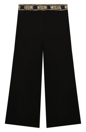 Детские брюки из вискозы MOSCHINO черного цвета, арт. HDP045/LJA00/10A-14A   Фото 2 (Материал внешний: Вискоза)