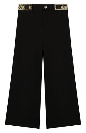 Детские брюки из вискозы MOSCHINO черного цвета, арт. HDP045/LJA00/4A-8A   Фото 1 (Материал внешний: Вискоза)