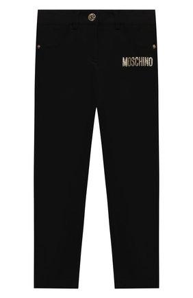 Детские брюки из вискозы MOSCHINO черного цвета, арт. HDP046/LJA00/4A-8A   Фото 1 (Материал внешний: Вискоза)