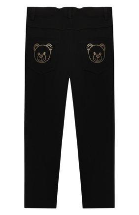 Детские брюки из вискозы MOSCHINO черного цвета, арт. HDP046/LJA00/4A-8A   Фото 2 (Материал внешний: Вискоза)