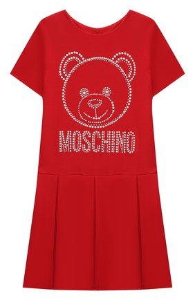 Детское платье из вискозы MOSCHINO красного цвета, арт. HDV0AQ/LJA00/4A-8A   Фото 1 (Материал внешний: Вискоза; Рукава: Короткие)