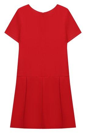 Детское платье из вискозы MOSCHINO красного цвета, арт. HDV0AQ/LJA00/4A-8A   Фото 2 (Материал внешний: Вискоза; Рукава: Короткие)