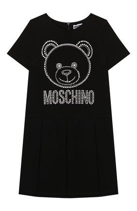 Детское платье из вискозы MOSCHINO черного цвета, арт. HDV0AQ/LJA00/4A-8A   Фото 1 (Рукава: Короткие; Материал внешний: Вискоза)