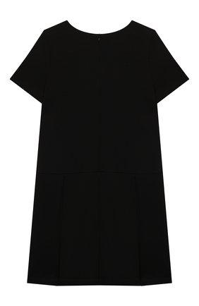 Детское платье из вискозы MOSCHINO черного цвета, арт. HDV0AQ/LJA00/4A-8A   Фото 2 (Рукава: Короткие; Материал внешний: Вискоза)