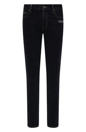 Мужские джинсы OFF-WHITE темно-синего цвета, арт. 0MYA074F21DEN005   Фото 1 (Длина (брюки, джинсы): Стандартные; Материал внешний: Хлопок; Кросс-КТ: Деним; Стили: Гранж; Силуэт М (брюки): Прямые)