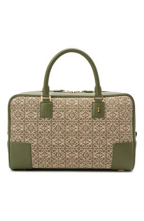 Женская сумка amazona 28 LOEWE зеленого цвета, арт. A039N08X02   Фото 1 (Материал: Натуральная кожа, Текстиль; Размер: medium; Ремень/цепочка: На ремешке; Сумки-технические: Сумки top-handle)